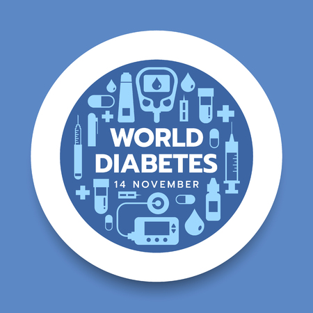 World diabetes day banner with icon diabetes tools in white circle on blue