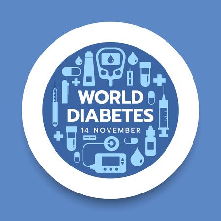 Weltdiabetes-Tagesbanner mit Symboldiabeteswerkzeugen im weißen Kreis auf Blau