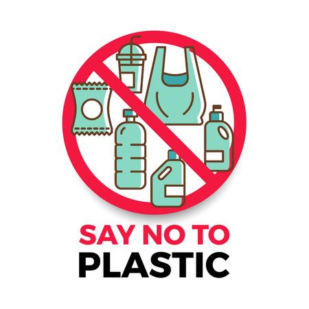 Di no a la pancarta de plástico con el icono de plástico en el círculo de parada rojo Ilustración de vector