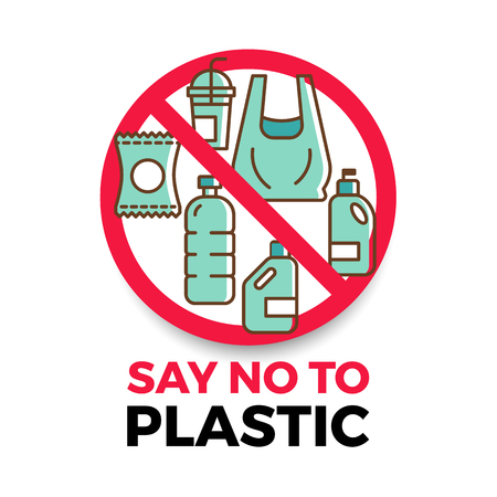 Say no to plastic banner with plastic icon in red stop circle Vector Illustratie