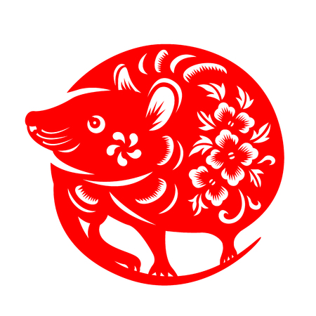 Red paper cut rat chinese zodiac circle style sign isolate on white