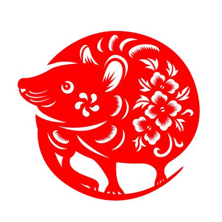 Rotes Papier geschnittenes chinesisches Tierkreiszeichen der Ratte isolieren auf Weiß