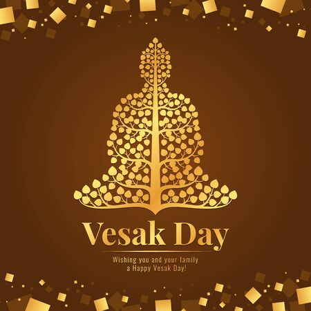Vesak day banner gold Buddha with bodhi tree sign on abstract brown gold background design
