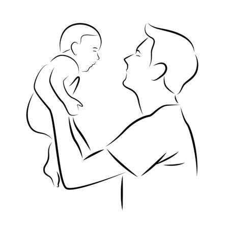 Abstract drawing line father carrying a baby art design Banco de Imagens - 129420280