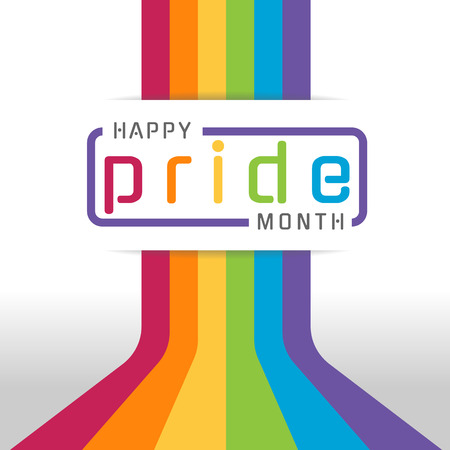 Happy pride month banner with typography text on line colorful rainbow Bend up