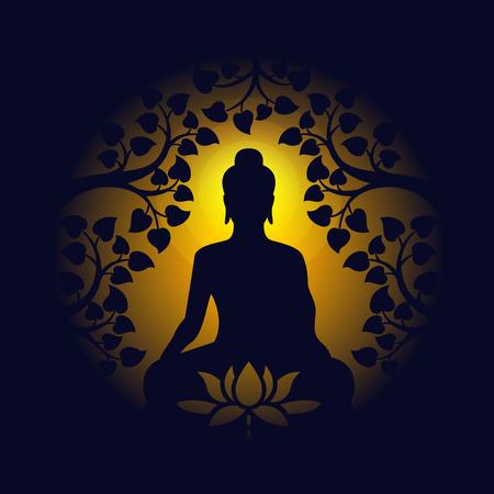 Buda se sienta bajo el árbol de bodhi y el signo de loto en un círculo amarillo claro y oscuro Ilustración de vector