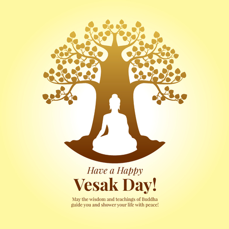 Happy Vesak day - Buddha Meditation under bodhi tree sign on yellow