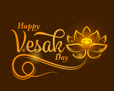 happy vesak day banner with abstract gold lotus flower sign and typography text on brown texture