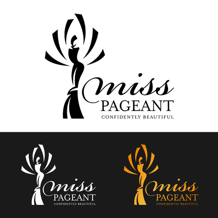 Miss pageant logo sign with woman queen abstract modern style 矢量图像