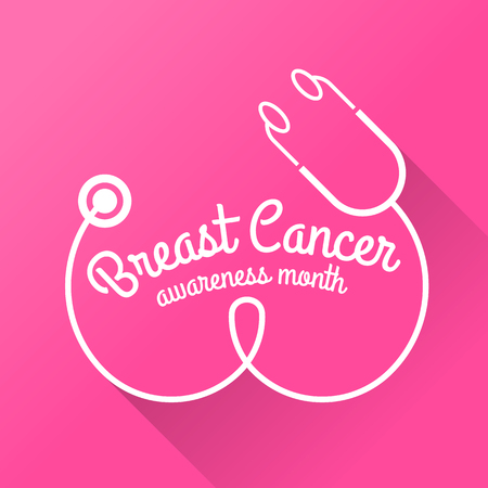 Breast cancer awareness month banner with Breast stethoscope sign on pink
