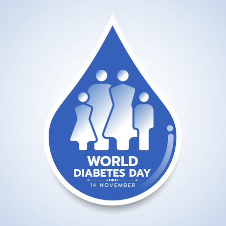 World diabetes day banner with family human icon sign in blue drop blood symbol