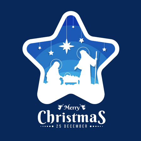 Merry Christmas banner sign with Nightly christmas scenery mary and joseph in a manger with baby Jesuson in star frame on blue