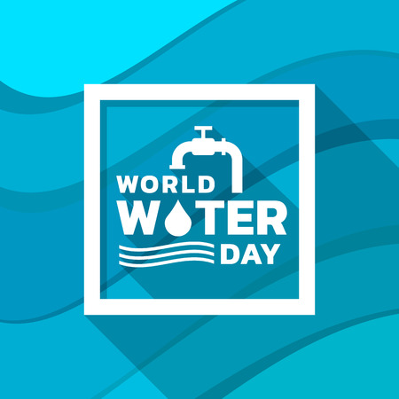 World water day banner with tap drop water ,water wave sign and typography text in frame on abstract wavy blue Çizim