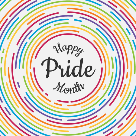 Happy Pride month banner with typography text in abstract colorful rainbow line dash circle texture