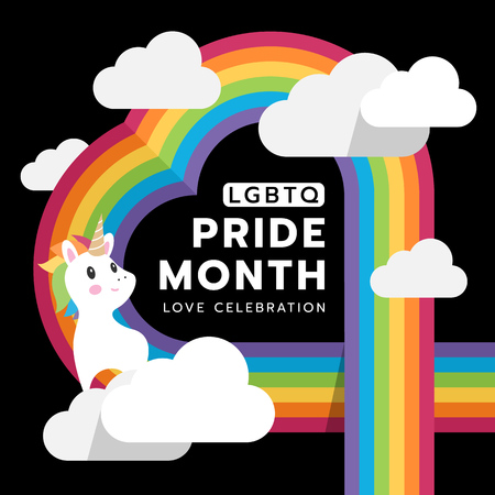 LGBTQ Pride month and love celebration with heart rainbow cloud and unicorn on black