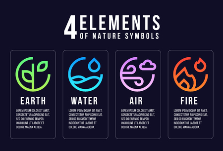 4 elements of nature symbols line abstract circle style with earth, fire, air and water vector design Standard-Bild - 124845867