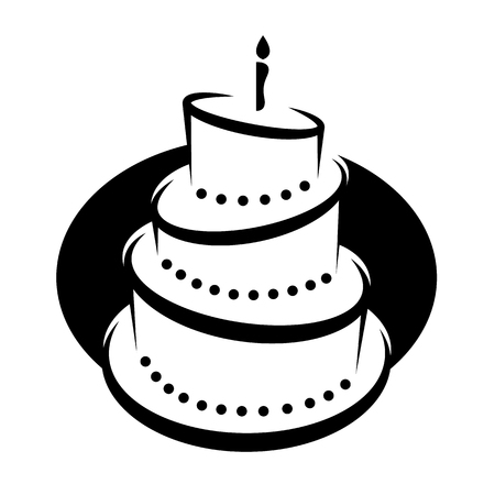 Clip art  of a Black And White Tiered Birthday Cake With Candles on Oval vector design Ilustrace