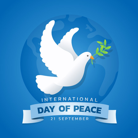 International day of peace banner with white dove with leaf on blue circle world