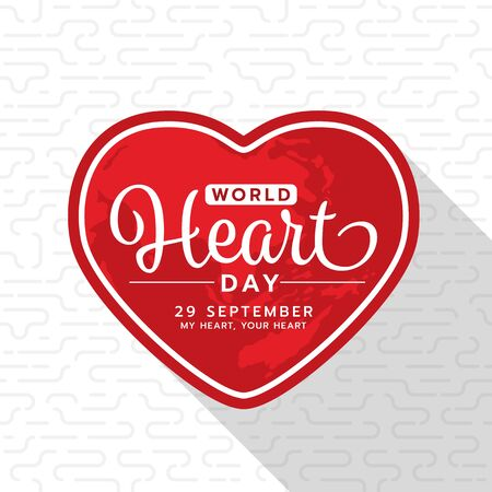 World heart day with text on red heart frame banner on white texture Иллюстрация