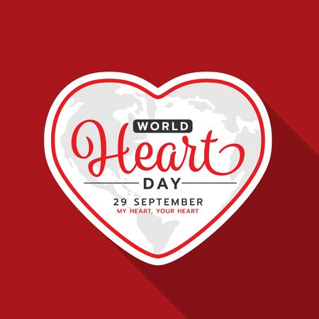 World heart day with text on white heart frame banner on red