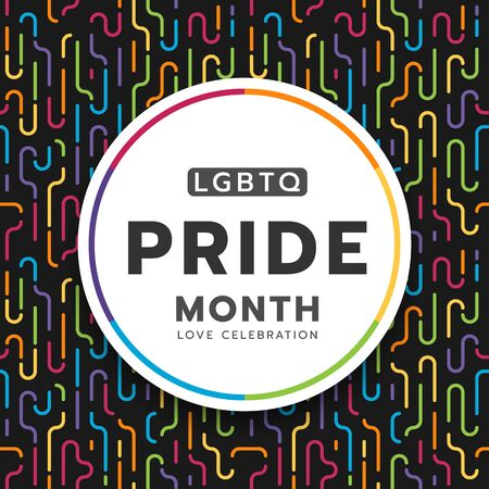 LGBTQ pride month circle banner on colorful rainbow curve line dash pattern texture and black