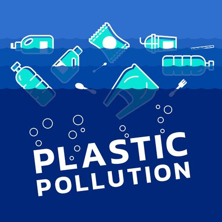 Plastic pollution concept with plastics icon in water ocean