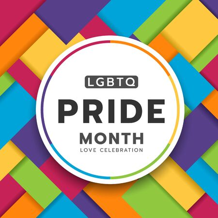 LGBTQ pride month circle banner on colorful rainbow Modern Square shapes texture