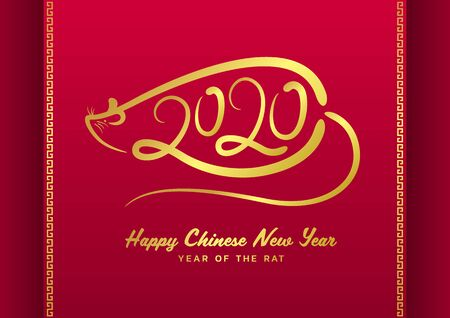 Chinese new year 2020 greeting card with gold 2020 line text and rat line art sign on red