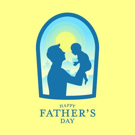 Happy fathers day banner with Silhouette father carrying a baby in window view and yellow