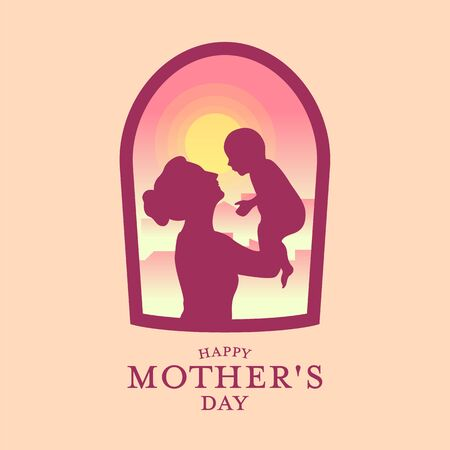 Happy Mothers day banner with Silhouette father carrying a baby in window view  イラスト・ベクター素材