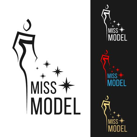 Miss model logo sign with line sharp woman modern style and star vector art design  イラスト・ベクター素材