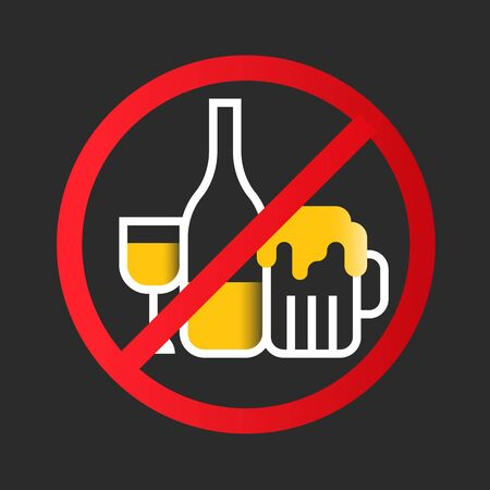 No alcohol icon sign with white yellow wine glass, Liquor bottle, Beer glass in red circle stop sign vector design