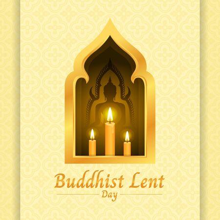 Bannière de jour de carême bouddhiste avec bougie jaune et signe de Bouddha dans une fenêtre dorée sur une texture jaune douce Vecteurs