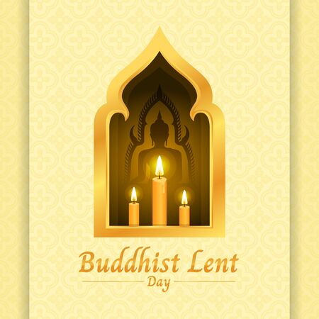 Buddhist lent day banner with yellow candle light and Buddha sign in gold window on soft yellow texture Ilustração