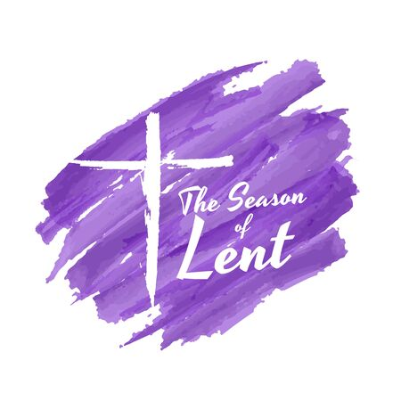 The season of lent banner with white crucifix on purple
