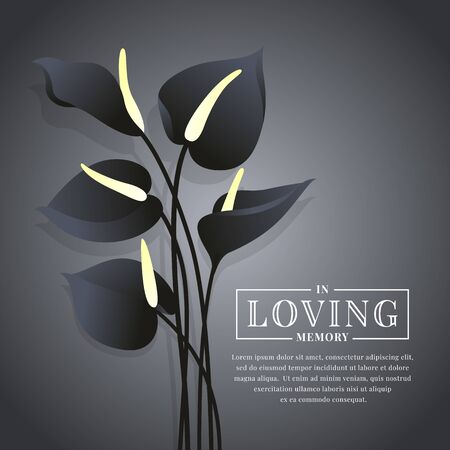 Black Anthurium flower on dark  with in loving memory text