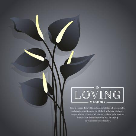 Schwarze Anthurium-Blume auf Dunkelheit mit in liebevollem Erinnerungstext