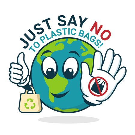 Just say no to plastic Bag with world character show stop plastic sign and hold Cloth Bag banner