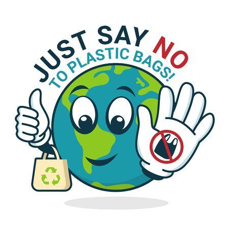 Simplemente diga no a la bolsa de plástico con el carácter mundial que muestra el letrero de parada de plástico y sostenga el cartel de la bolsa de tela Ilustración de vector