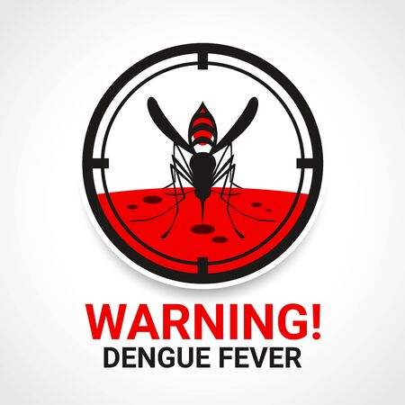 Warning dengue fever sign with mosquito Drinking blood in circle focus