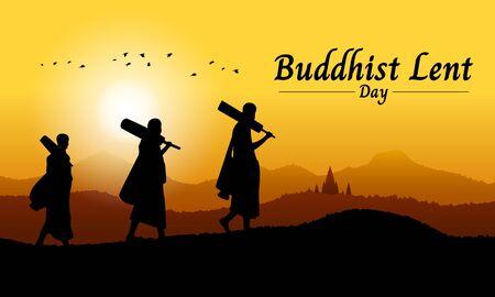 Bannière de jour de prêt bouddhiste avec moine bouddhiste à pied sur la vue sur la montagne dans la conception vectorielle de l'heure du soir Vecteurs