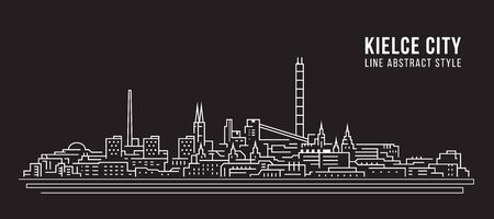 Cityscape Building Line art Vector Illustration design - Kielce city 스톡 콘텐츠 - 126257980
