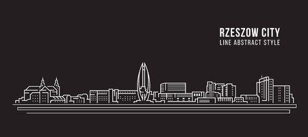 Cityscape Building Line art Vector Illustration design - Rzeszow city