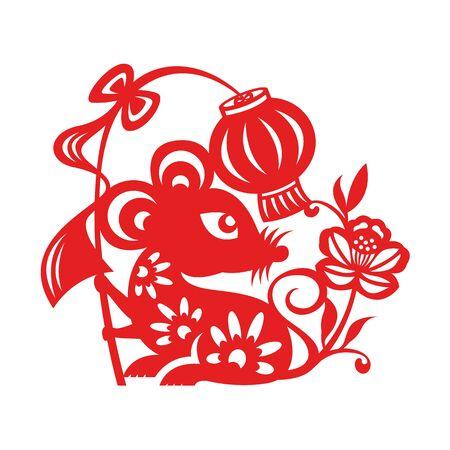El zodíaco de la rata del corte del papel rojo sostiene el signo de la linterna y el aislante de la flor en el diseño del vector del fondo blanco