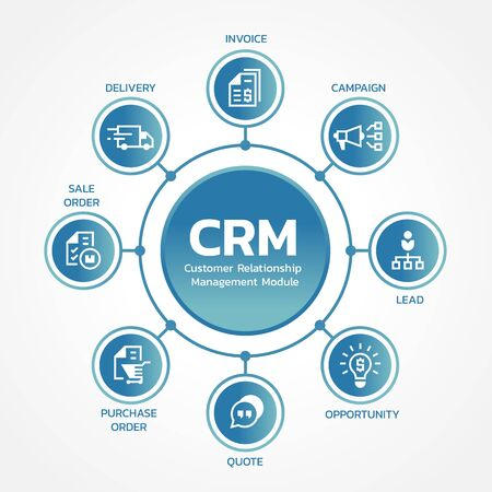 CRM Customer relationship management modules with circle line link diagram chart and icon sign