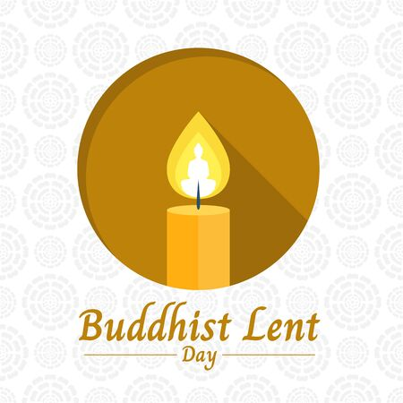 Buddhist lent day banner with yellow candle light and Buddha sign in circle on white lotus texture