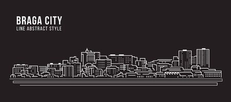 Cityscape Building Line art Vector Illustratie