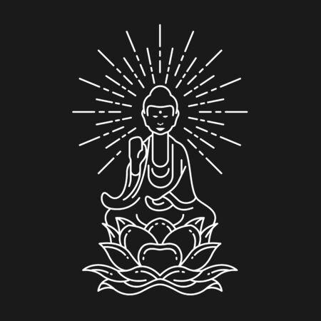 Abstract white border line Buddha Meditation on lotus flower sign on black