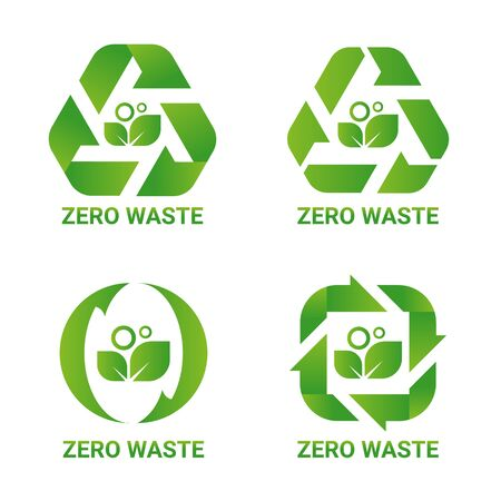 Zero waste sign concept with green leaf in arrow around cycle style