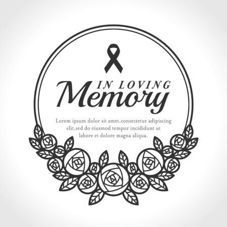 In loving Memory text and ribbon in Black circle line Wreath rose